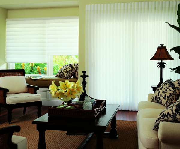 vignette roman shade in living room with flowers