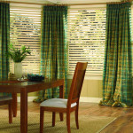 Wood blinds in bay window